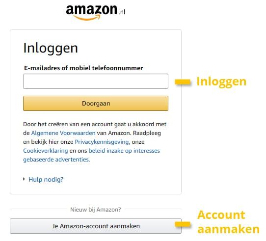 Amazon Prime inloggen of account aanmaken