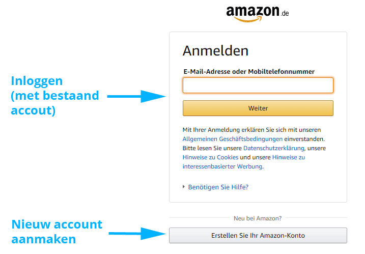Amazon Prime account inloggen of aanmaken