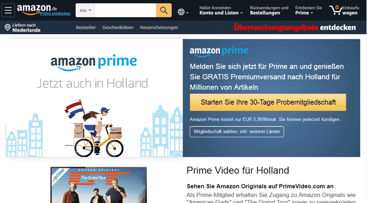 Amazon Prime zonder creditcard