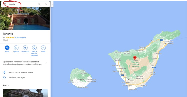 Huurauto vestinging vinden via Google Maps
