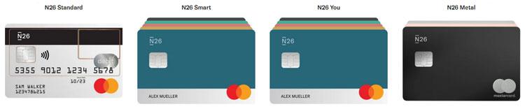 Overzicht met de verschillende N26 cards