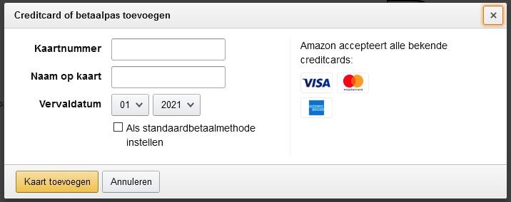 Stap 2: debitcard toevoegen tijdens bestelling